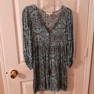 Brown and Teal floral boho tunic
